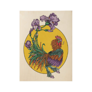 Iris Rooster Wood Poster