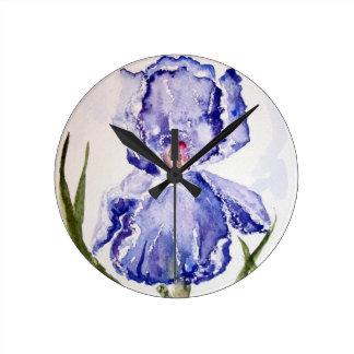 Iris watercolor painting clock