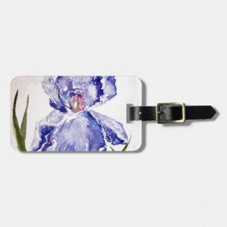 Iris watercolor painting luggage tag