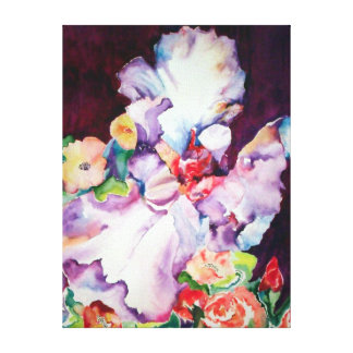 Iris with roses. canvas print