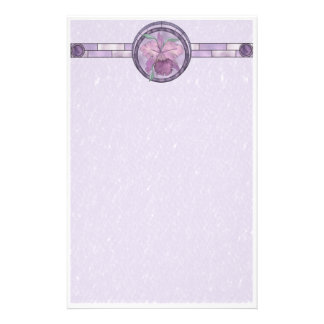 Iris With Stained-Glass Look Stationery Design