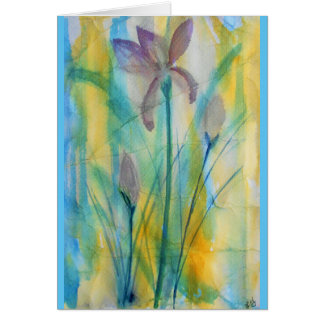Irises abstract watercolor, soft and vibrant card