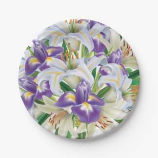 Irises and Lilies For Easter 7 Inch Paper Plate