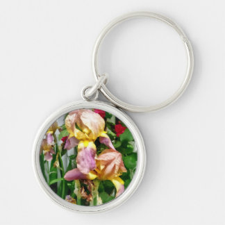 Irises By Picket Fence Key Ring