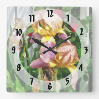 Irises By Picket Fence Square Wall Clock