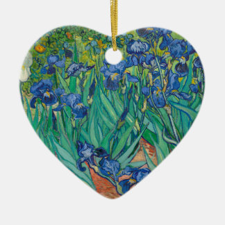 Irises by Vincent van Gogh Ceramic Heart Decoration