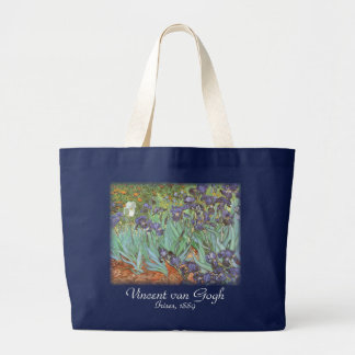 Irises by Vincent van Gogh, Vintage Flowers Art Large Tote Bag