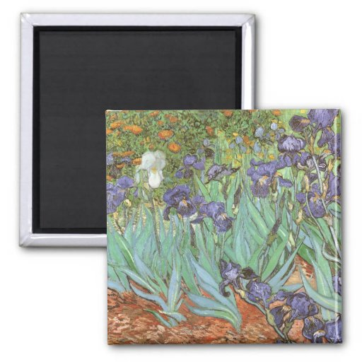 Irises by Vincent van Gogh, Vintage Garden Flowers Refrigerator Magnets