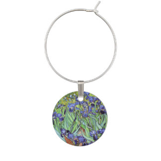 Irises by Vincent van Gogh Wine Charm