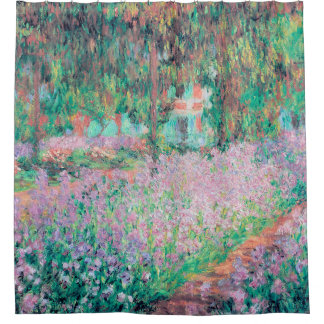 Irises in Monet's Garden Shower Curtain