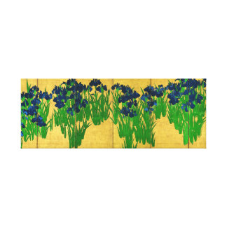 Irises on Gold Canvas Print