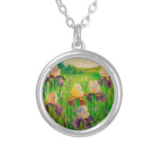 Irises Silver Plated Necklace
