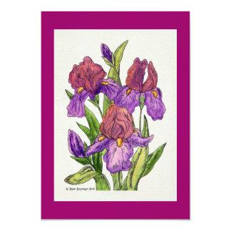 Irises Watercolor 13 Cm X 18 Cm Invitation Card