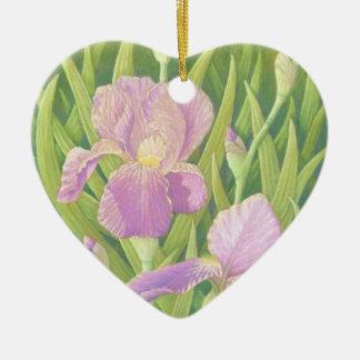 Irises, Wisley Gardens Flower Girl Heart Ornament