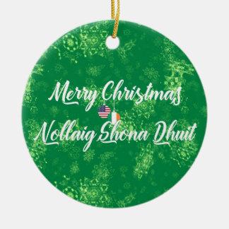 Irish American Bilingual Decoration, Gaelic Ceramic Ornament