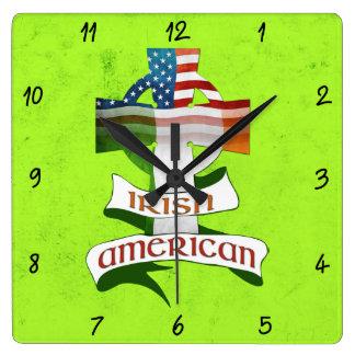 Irish American Celtic Cross Square Clock