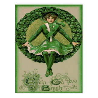 Irish American Flag Harp of Erin Shamrock Postcard