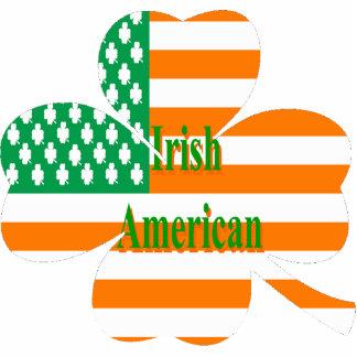 Irish American flag on four leaf clover Photo Sculpture Magnet