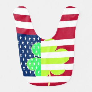 Irish American Flag Shamrock Clover St. Patrick Bib