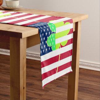 Irish American Flag Shamrock Clover St. Patrick Long Table Runner