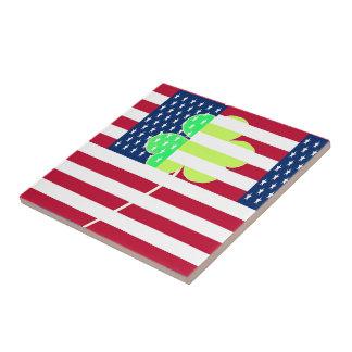 Irish American Flag Shamrock Clover St. Patrick Tile