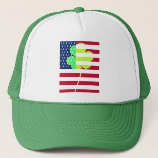 Irish American Flag Shamrock Clover St. Patrick Trucker Hat