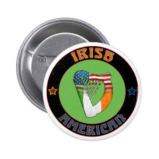 Irish American Harp Button