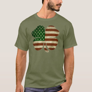 Irish American Shamrock Patriot Flag T-Shirt