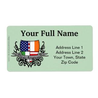 Irish-American Shield Flag Shipping Label