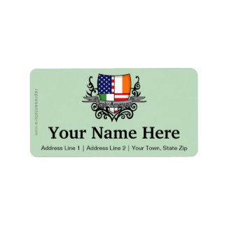Irish-American Shield Flag Address Label
