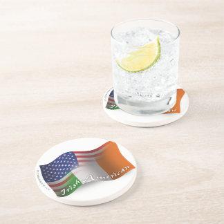 Irish-American Waving Flag Beverage Coaster