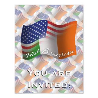 Irish-American Waving Flag 4.25x5.5 Paper Invitation Card