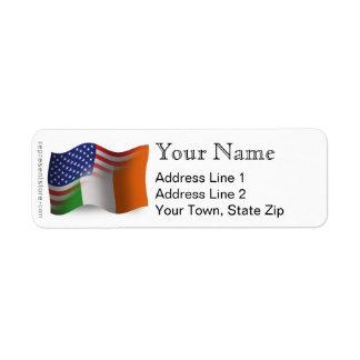 Irish-American Waving Flag Return Address Label