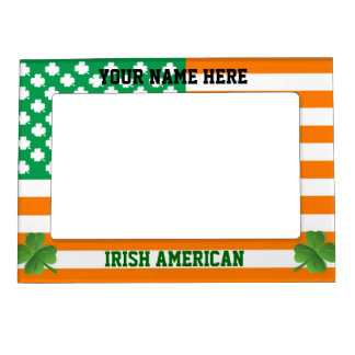 Irish American with flag and shamrocks Magnetic Picture Frame