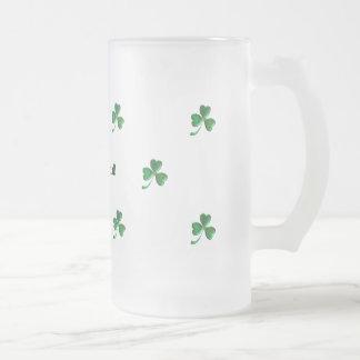 Irish and Proud Shamrocks 4 Frosted Glass Beer Mug