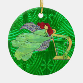 Irish Angel and Harp in Stained Glass Ceramic Ornament