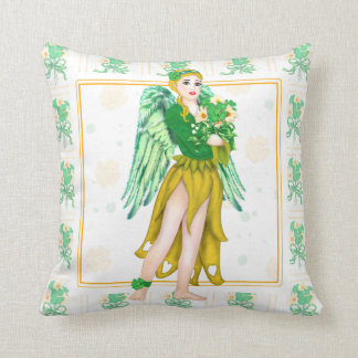 IRISH ANGEL CARTOON  Throw Pillow 16 X 16