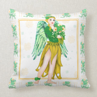 "IRISH ANGEL CARTOON  Throw Pillow 20"" x 20"""