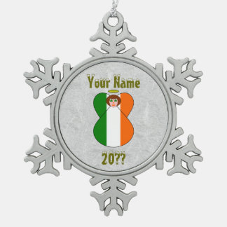 Irish Angel Flag Red Hair Shamrock Eyes Pewter Snowflake Decoration