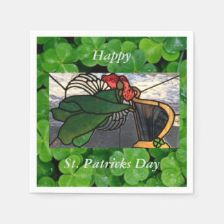 Irish Angel in Stained Glass on Clover Paper Serviettes