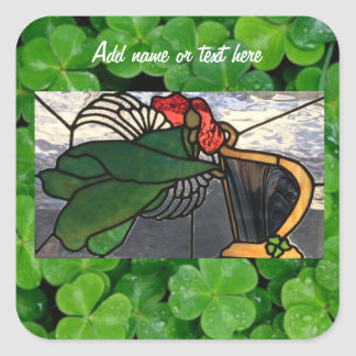 Irish Angel in Stained Glass on Clover Square Sticker
