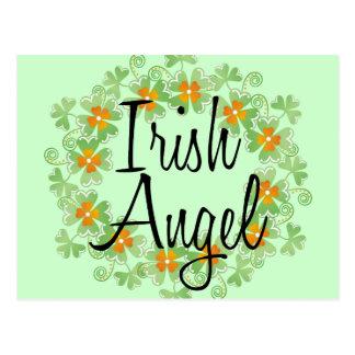 Irish Angel Shamrock Wreath Postcard