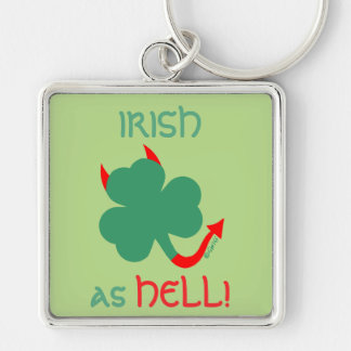 Irish as Hell Devilish Shamrock Red Horns Tail Silver-Colored Square Key Ring