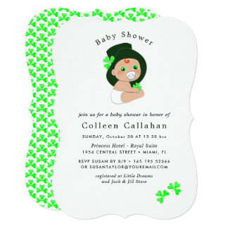 Irish Baby Leprechaun Lucky Shamrock Baby Shower Card
