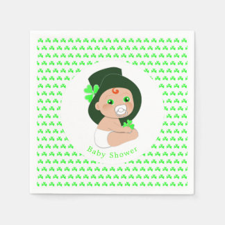 Irish Baby Leprechaun Lucky Shamrock Baby Shower Disposable Serviette