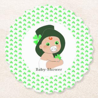 Irish Baby Leprechaun Lucky Shamrock Baby Shower Paper Coaster