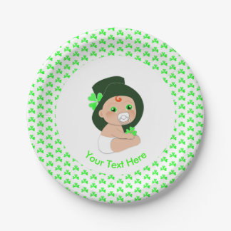 Irish Baby Leprechaun Lucky Shamrock Baby Shower Paper Plate
