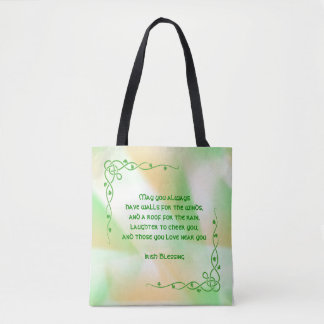 Irish Blessing (#3) St Patrick's Day Orange, Green Tote Bag