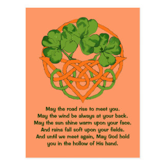Irish blessing and Celtic knot basket Post Card