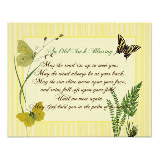 Irish Blessing Botanical Poster